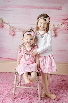 2 piece package....1 skirt and 1 dress....Coordinating Sibling Pink Damask Outfits... perfect for photo shoots...Valentines and Easter