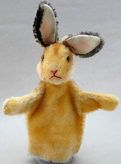 Steiff Bunny Rabbit Mohair Plush Hand Puppet 1960s