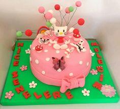 Mini Balonlu Hello Kitty Pasta. Renkli Tatlar Butik Pasta. İletisim : 0533 6688680.