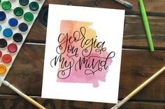 """Georgia On My Mind Watercolor State Silhouette Art Print, 8""""x10"""" Peach Yellow Pink Watercolor with HandLettering, Hand Lettered Quote by MagnoliaBelue on Etsy"""