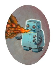 Original Robot Art  Fire Breathing Robot  Mr Hooper by mrhooper, $160.00