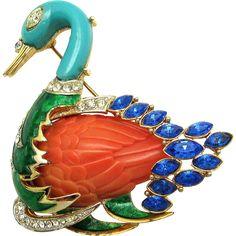 RARE Vintage HATTIE CARNEGIE Swimming Swan Enamel Faux Sapphire Feathers Brooch