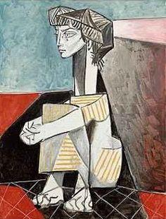 "Painting ©: ""Portrait of Jacqueline Roque with Her Hands Crossed"" - by Pablo Ruiz Picasso (Spain; Pablo Picasso, Kunst Picasso, Art Picasso, Picasso Paintings, Paintings Famous, Famous Artists, Cubist Movement, Guernica, Spanish Painters"