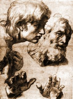 """Raphael, Drawing of Two Apostles, Study for """"The Transfiguration"""", c. 1520. Pencil on paper. Ashmolean Museum, Oxford."""
