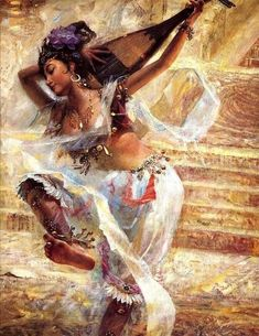 """ "" Dancer"" by: Chinese Oil Painting Master: Tu Zhiwei "" Figurative Kunst, Dance Paintings, Soul Art, Belly Dancers, Dance Art, Beautiful Paintings, Indian Art, Female Art, Les Oeuvres"