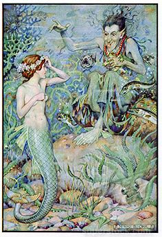 The Little Mermaid visiting the undersea witch for spell to help win love of prince she rescued from shipwreck. Hans Christian Andersen fairy story illustrated by Monro S Orr (b1874)