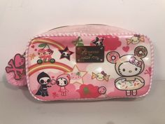 SANRIO KWAII Hello Kitty Drawstring Bag Pouch Case Light with Gusset Bottom NEW
