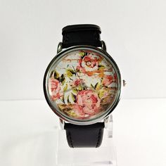 Floral on Wood Watch, Vintage Style Watch, Shabby Chic, Leather Watch, Women's watch