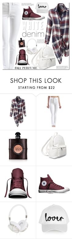 """""""Plaid and white denim look"""" by mada-malureanu ❤ liked on Polyvore featuring LE3NO, Yves Saint Laurent, 7 Chi, Converse, Frends, Topshop, plaid, le3no, fallperfume and le3noclothing"""