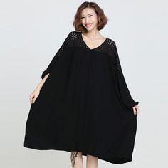 12 OAKS OF KATY Women Europe and America Fashion Lace Patchwork Batwing Long Sleeve Dress Ultra Plus Size Loose Big Dress