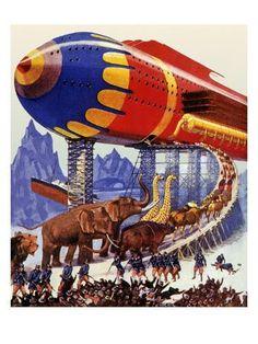 size: Giclee Print: Sci Fi - Futuristic Noah's Ark, 1939 by Howard V. Science Fiction Art, Pulp Fiction, Retro Futuristic, Movie Props, Pulp Art, Sci Fi Art, Geek Culture, Dieselpunk, Figurative Art