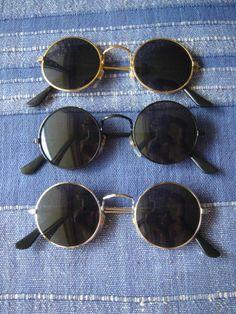 1 lot : 3 x Lunettes de soleil rondes style seventies 70s 70 Set 2 verres Retro