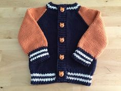 Little Coffee Bean Cardigan - adorable variation on the Little Coffee Bean Cardigan by Elizabeth Smith (Ravelry) - Baby Cardigan Knitting Pattern Free, Baby Boy Knitting Patterns, Knitted Baby Cardigan, Knit Baby Sweaters, Knitting For Kids, Baby Patterns, Knit Patterns, Boys Sweaters, Crochet For Boys