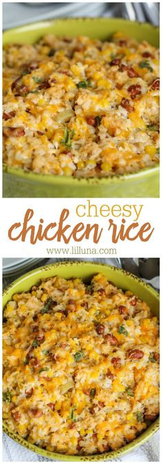 Cheesy Chicken Rice - a DELICIOUS combination of chicken rice corn black beans green chiles and cheese! This is a dinner recipe that is sure to please the whole family! Cheesy Rice, Cheesy Chicken, Chicken Casserole, Casserole Recipes, Rice Casserole, Hamburger Casserole, Rice Dishes, Food Dishes, Main Dishes