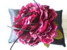 Deep Wine Rose Ring Bearer Pillow by DaniCalve on Etsy