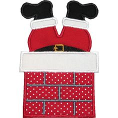 Santa Stuck in Chimney Applique Design