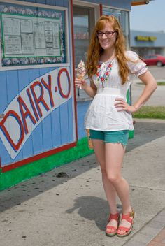 peasant top, teal cut-offs, ice cream