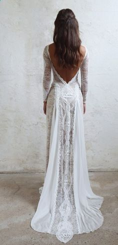 Lace Bohemian Wedding Dresses French Lace Long Sleeve Boho Chic Dress Open Back Bridal Gowns vestido de noiva 2018 Wedding Dresses, Lace Wedding Dress, Wedding Dress With Sleeves, Open Back Wedding Dress, 2019 Wedding Dress Wedding Dresses 2019 Grace Loves Lace, Mod Wedding, Wedding Bells, Trendy Wedding, Elegant Wedding, Summer Wedding, Wedding Simple, Casual Wedding, Simple Lace Wedding Dress