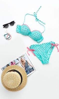 Turquoise Polka Dot Bikini