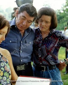 Claude Akins and Patricia Neal study the script
