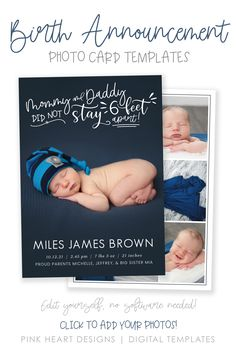 """Announce the arrival of your new baby to family and friends with this cute """"Mommy and Daddy Did Not Stay 6 Feet Apart"""" baby birth announcement for these crazy coronavirus times. Easily edit in your web browser, no software needed! #Corjl #BirthAnnouncement #BirthTemplate #BabyAnnouncement #NewbornCard #BabyCard #BirthCard #NewbornPhotoCard #QuarantineBaby #6FeetApart #FunnyBirthCard #CovidNewborn #SocialDistanceBaby Newborn Announcement, Birth Announcement Template, Heart Designs, Baby Birth, Web Browser, Baby Cards, Photo Cards, Mom And Dad, New Baby Products"""