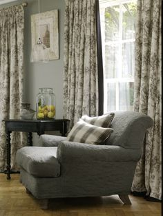 More for the english garden inspired home. these luxurious patterned curtains belong to the Clarke & Clarke Fairmont Charcoal Collection Curtain World, Clarke And Clarke Fabric, Room Interior, Interior Design, Chintz Fabric, Grey Armchair, Curtain Material, Beautiful Curtains, Interior