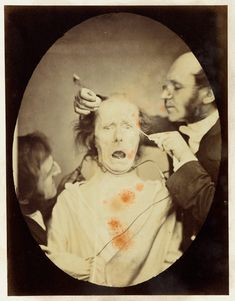 19th century experiment in the use of electrical stimulation to create facial expressions.