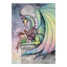 Colorful fantasy art - Dragon Fairy Greeting Card by Molly Harrison Amy Brown Fairies, Dragon Artwork, Gothic Fairy, Artist Portfolio, Baby Dragon, Fairy Art, Mythical Creatures, Faeries, Fantasy Art