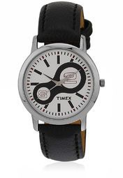 Black Leather Analog Watch