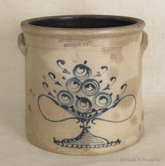 """Six-gallon stoneware crock, 19th c., impressed A.O. Whittemore Havana N.Y., with a cobalt compote of fruit, 12 1/2"""" h."""