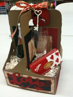 re-purposed a drink carrier for a Valentine's Gift. Another Store workshop. This idea can be used for any occasion or theme. Valentines Day Treats, Valentine Day Love, Valentine Gifts, Holiday Crafts, Holiday Fun, Christmas Gifts, Craft Gifts, Diy Gifts, Theme Baskets