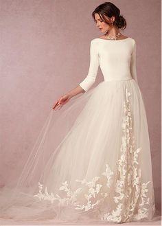 CompriElegant Satin & tulle Bateau scollatura A-line Abiti da sposa con applicazioni in pizzo di sconto sul Dressilyme.com