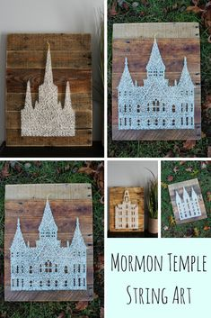 LDS Temple String Art Center Wood Sign-Mormon Temple Wood Wall Sign-Birthday Baptism Wedding Gift