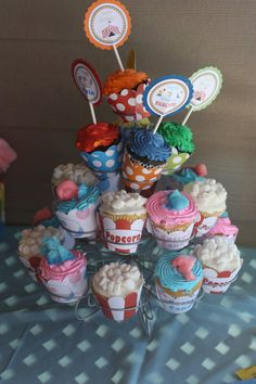 Carnival Circus Cupcakes Cotton Candy Popcorn toppers and wrappers