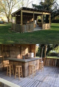 Outdoor bar. Made from palettes. Concrete bar top by esmeralda