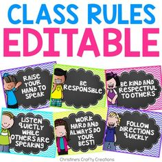 6 different rules posters including: Raise your hand to speak Be responsible Be kind and respectful to others Listen quietly while others are speaking Work hard and always of your best! Follow directions quickly
