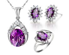 Natural real amethyst sets Free shipping 1pair stud earring 1pc pendant 1pc ring 925 sterling silver 0.85ct*3pcs,2.4ct*1pc gems(China (Mainland))