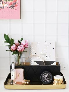 Fresh peonies + gold details = ideal workspace set-up
