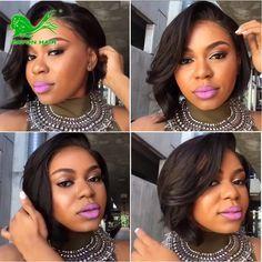 54.71$  Buy now - http://ali1ui.worldwells.pw/go.php?t=32695440610 - 7a short bob human hair wigs with baby hair african american bob wigs virgin brazilian full lace human hair wigs for black women 54.71$