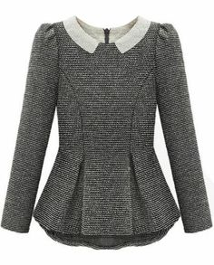 Grey Long Sleeve Ruffle Back Zipper Blouse pictures