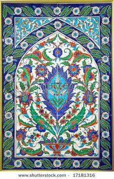 Turkish Tiles (Floral Red, Blue And Green Ornament) Stok Fotoğrafı 17181316 : Shutterstock Tile Murals, Tile Art, Mosaic Art, Mosaic Tiles, Turkish Tiles, Turkish Art, Turkish Rugs, Portuguese Tiles, Moroccan Tiles