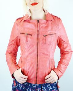 Solana Womens Retro 70s Leather Jacket in Vintage Pink from Madcap England