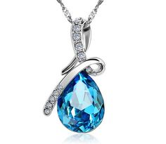 Just in:  Stylish Blue Crys... Check it out here! http://parniswatches.net/products/stylish-blue-crystal-water-drop-pendant-necklace-rhodium-plated