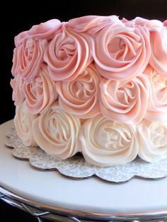 Culinary Couture: Pink Ombre Rose Cake