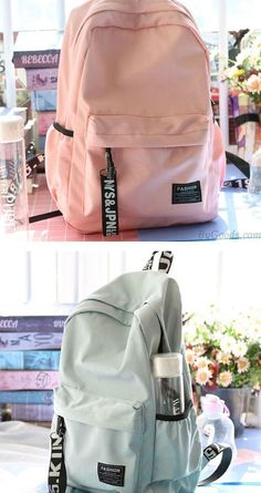 Preppy Style Young Simple Waterproof Pure Color Letters Belts Fresh School Bag T. Preppy Style Young Simple Waterproof Pure Color Letters Belts Fresh School Bag Travel Backpack This image has get 13 Mochila Kpop, Mochila Adidas, High School Bags, Cute School Bags, School Bags For College, School School, College Campus, Best School Bags, Middle School Supplies