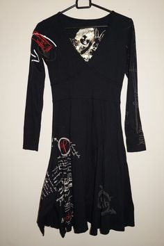 DESIGUAL ALL TOGETHER WOMEN CASUAL DRESS Size XS BLACK LONG SLEEVE 100% cotton #Desigual #ALine #Casual
