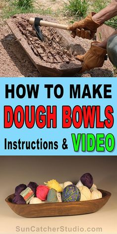 How to make a homemade wooden dough bowl. Written instructions and video will walk you through creating a handmade, DIY, antique, old fashioned, bowl using a chain saw, adze, and a carbide shaping dish.