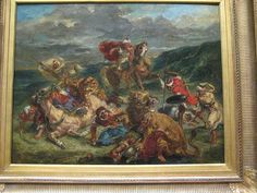 Lion Hunt, for more, please visit http://www.painting-in-oil.com/artworks-Delacroix-Eugene-page-1-delta-ALL.html