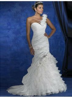 Mermaid One Shoulder Flowers Ruching Brush Train Taffeta Wedding Dresses WE3392