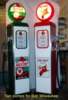 Sky Chief and Fire Chief gas pumps.  www.garageart.com